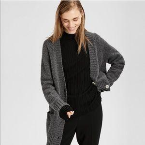 Theory Oversized V Neck Wool Blend Gray Cardigan L